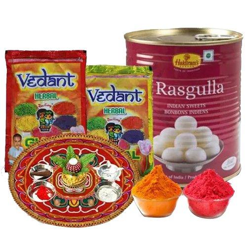 Sweet Enjoyment pack of Haldiram Rasgulla, Herbal Gulal N Puja Thali
