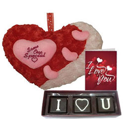 Lovely Gift Combo of I Love You Handmade Chocolate, Cute Heart Love N Love Card