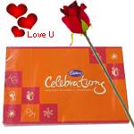 Assorted Cadburys Chocolates Celebration with One Velvet Red Rose