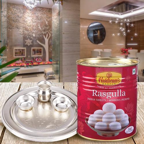 1 Kg. Haldiram Rasgulla with Silver Plated Puja Thali
