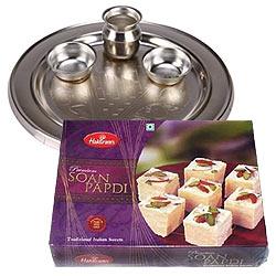 Silver Plated Puja Thali with Haldiram Soan Papdi
