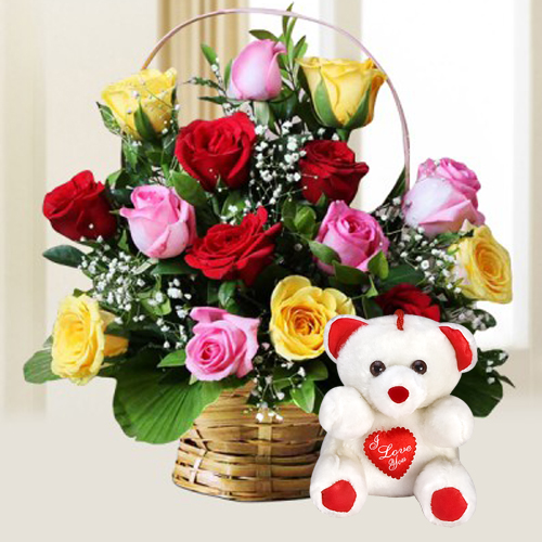 Beautifully Arranged Mixed Roses with Cute Teddy
