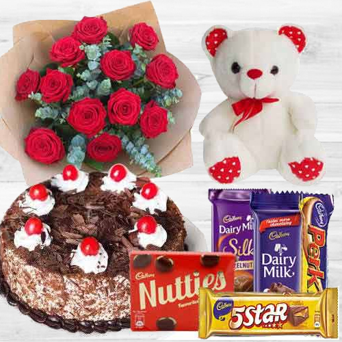 Book Red Roses with Cake, Chocolates N Teddy Online