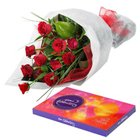Delightful Cluster of Roses and Chocolates to Tilak Nagar