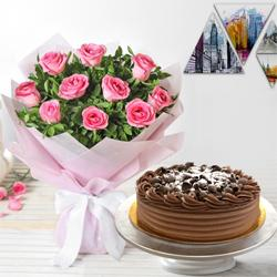 Tempting 10 Pink Roses and 1/2 Kg Eggless Chocolate Cake to Jahangir Puri H Block