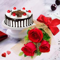 Stunning 3 Red Roses with 1/2 Kg Black Forest Cake to Malik Pur Gdso