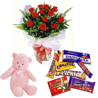 Shop Bouquet of Red Roses with Assorted Chocolates N Teddy