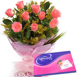 Send Online Combo of Pink Roses Bouquet N Cadbury Celebration