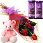 Admirable Small Teddy, Roses and Dairy Milk Silk Chocolate Bars to Dhansa