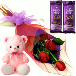 Online Deliver Dairy Milk Silk with Roses N Teddy