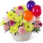 Impressive Gift of Basket Mixed Flowers Arrangement and Colorful Balloons