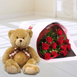 Joyous Gift Pack of Teddy and Roses