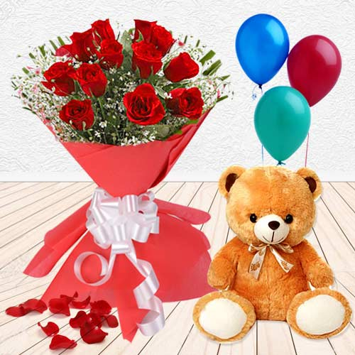 Send Combo of Red Roses Bunch with Teddy N Balloons Online