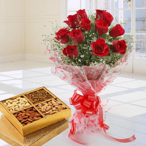 Book Red Roses Bouquet n Dry Fruits Online