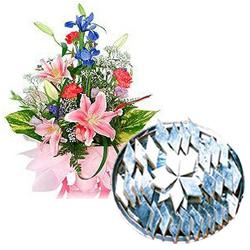 Kaju Barfi  with Seasonal Flowers Bouquet