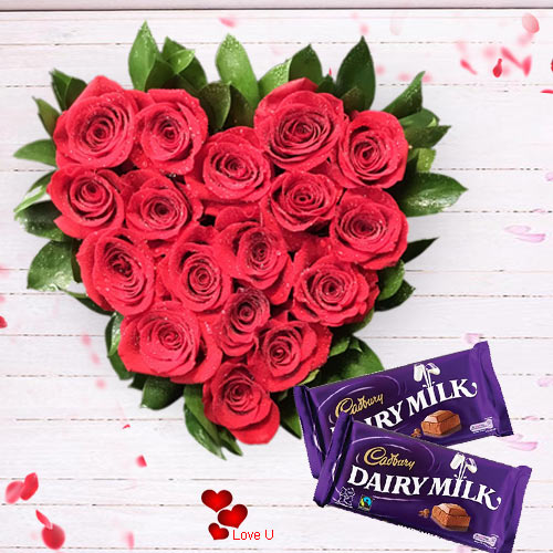 Shop for Heart Shape Rose Arrangement N Dairy Milk Online
