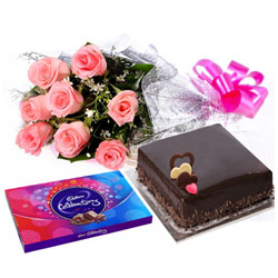 Send Pink Rose Bouquet, Chocolate Cake and Cadbury Celebration Online