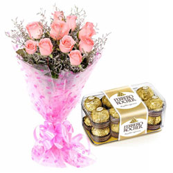 Gift Combo of Pink Roses Bunch and Ferrreo Rocher Chocolates Online