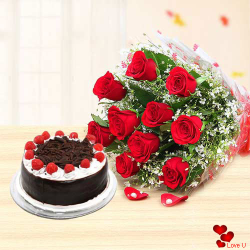 Buy Red Roses Bouquet N Black Forest Cake Online