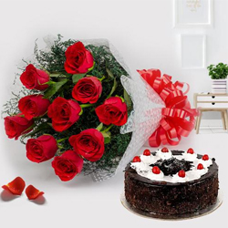 Cherished Black Forest Cake and Red Roses Bunch to Govind Pura