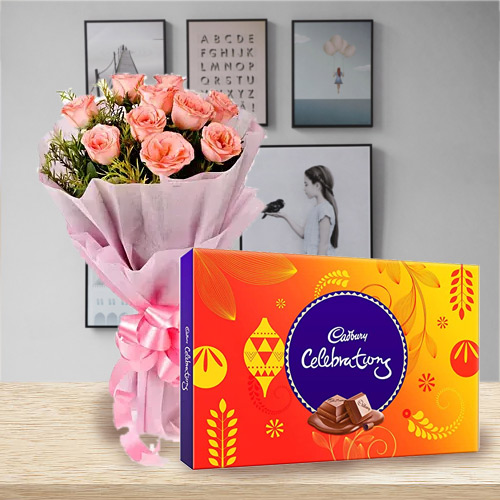 Online Delivery of Cadbury Celebration and Pink Roses