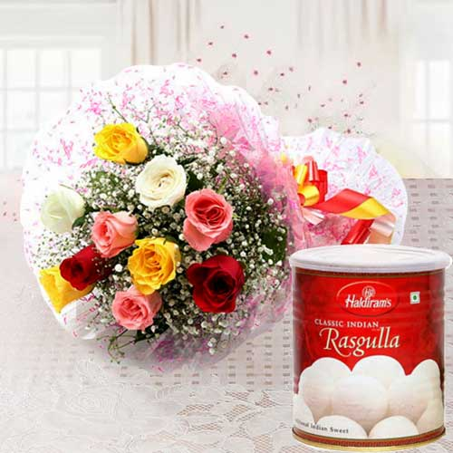 Gift Mixed Roses with Haldiram Rasgulla Online