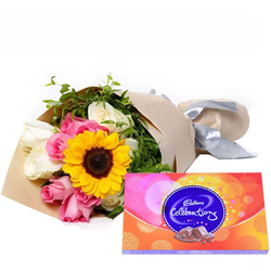 Order Mixed Flower Bouquet with Cadbury Celebration Chocolate Online