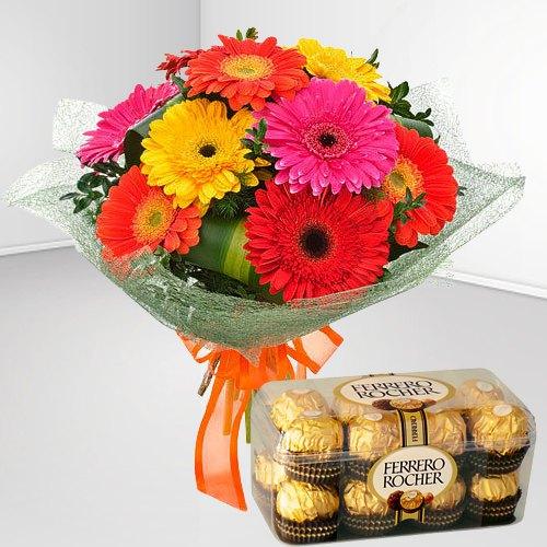 Deliver Mixed Gerbera Bouquet and Ferrero Rocher Online