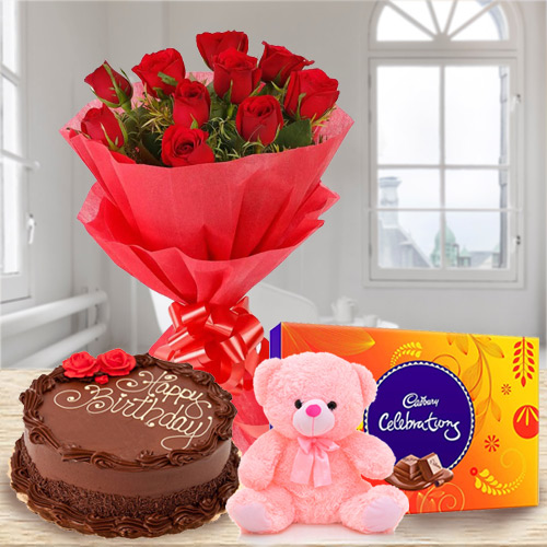 Online Combo of Red Roses Bouquet with Chocolate Cake, Teddy N Cadbury Celebration