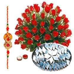Red Roses and  Kaju Katli with Free Rakhi, Roli Tika, Chawal