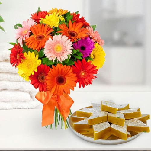 Gift Online Mixed Gerberas Arrangement with Kaju Katli