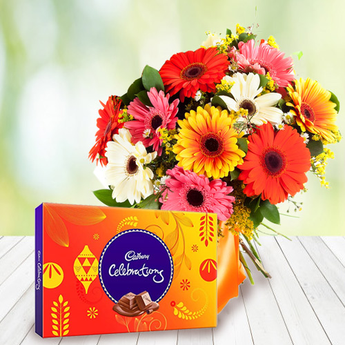 Online Order Mixed Gerbera Bouquet with Cadbury Celebration Chocolate