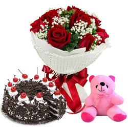 Deliver Red Roses Bouquet with Black Forest Cake N Teddy Online