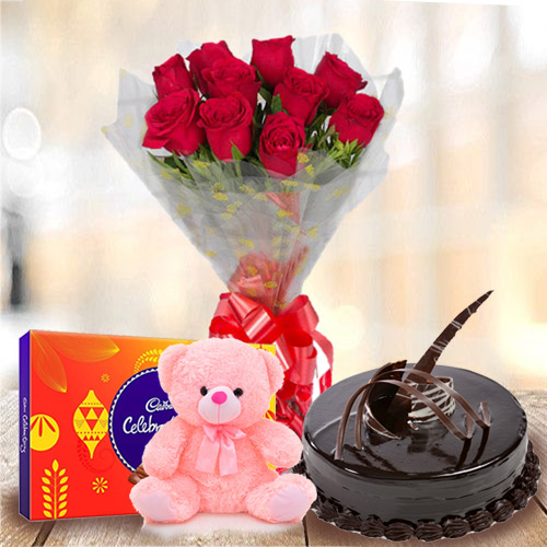 Buy Red Roses Bouquet with Chocolate Cake, Teddy N Cadbury Celebration