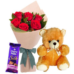 Lasting Red Roses Bouquet with Teddy N Dairy Milk Silk