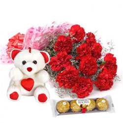 Creative Bouquet of Carnations with Teddy N Ferrero Rocher