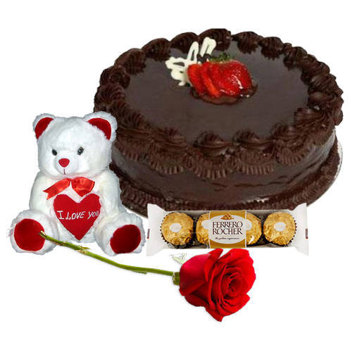 Shop Online Chocolate Cake with Teddy, Ferrero Rocher N Red Rose