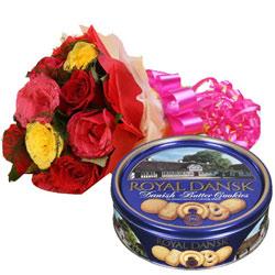 Alluring Surprise Colorful Roses Bouquet N Danish Cookies Box