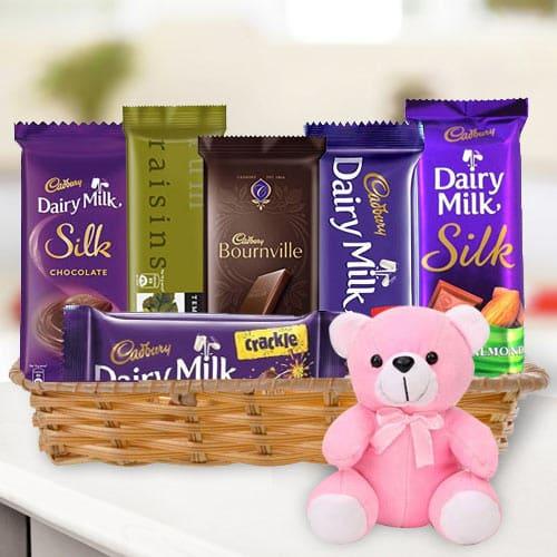 Online Gift Basket of Chocolates N Teddy