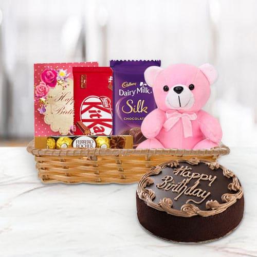 Online Gift Basket of Birthday Gifts N Chocolate Cake