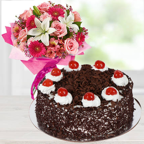 Sensational Mixed Flower Arrangements with Black Forest Cake