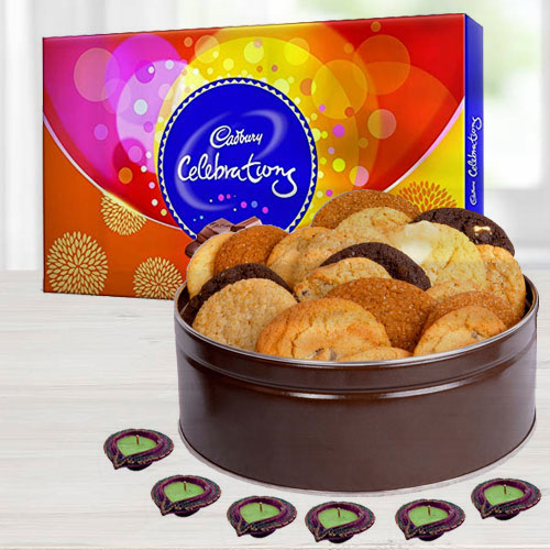 Assorted Cookies, Cadbury Chocolates n Diyas