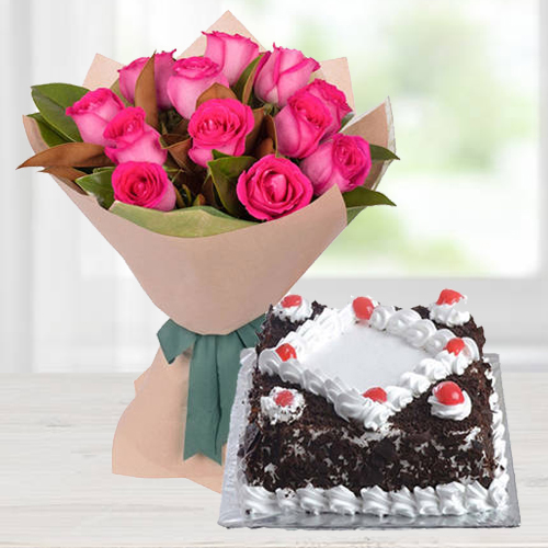 Cheerful Pink Roses Bunch with Kg Black Forest Cake