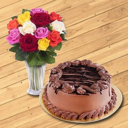 Extravagant Chocolate Cake with Mixed Flowers Bouquet in Vase