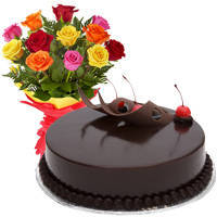 Beautiful Love Surprises 12 Mixed Roses Bunch with Chocolate Cake to Kanjhawla