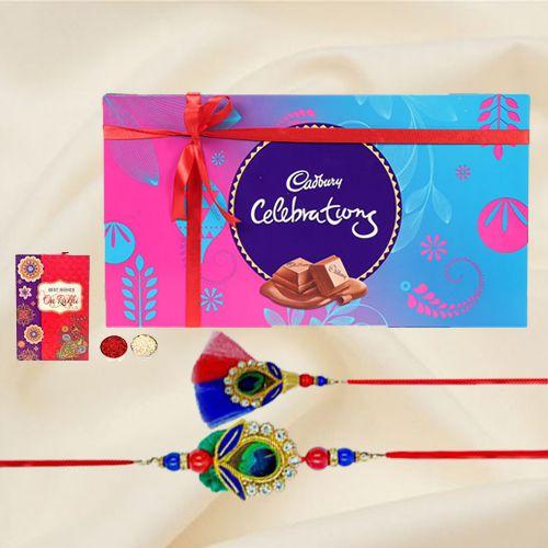 Lovely Rakhi celebration pack with Bhaiya Bhabhi Rakhi, free Roli tika and Chawal