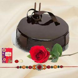 Yummy chocolaty cake and rose with free Rakhi roli tilak and Chawal