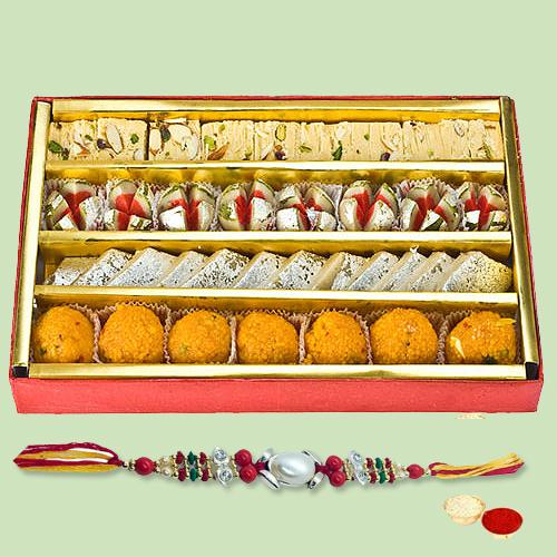 Auspicious Gift of Delicious Sweets Arranged in a Nice Pack of 500 Gms