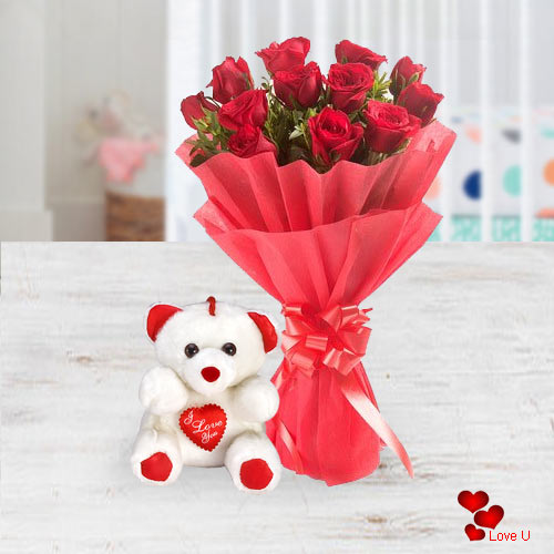 Shop Online for Red Roses Bouquet N Teddy