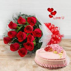 Exclusive <font color =#FF0000> Dutch Red </font>   Roses  Bouquet with Heart Shaped Cake